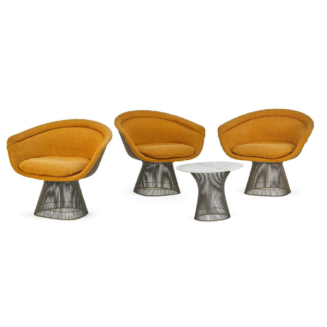 WARREN PLATNER Three armchairs and side table
