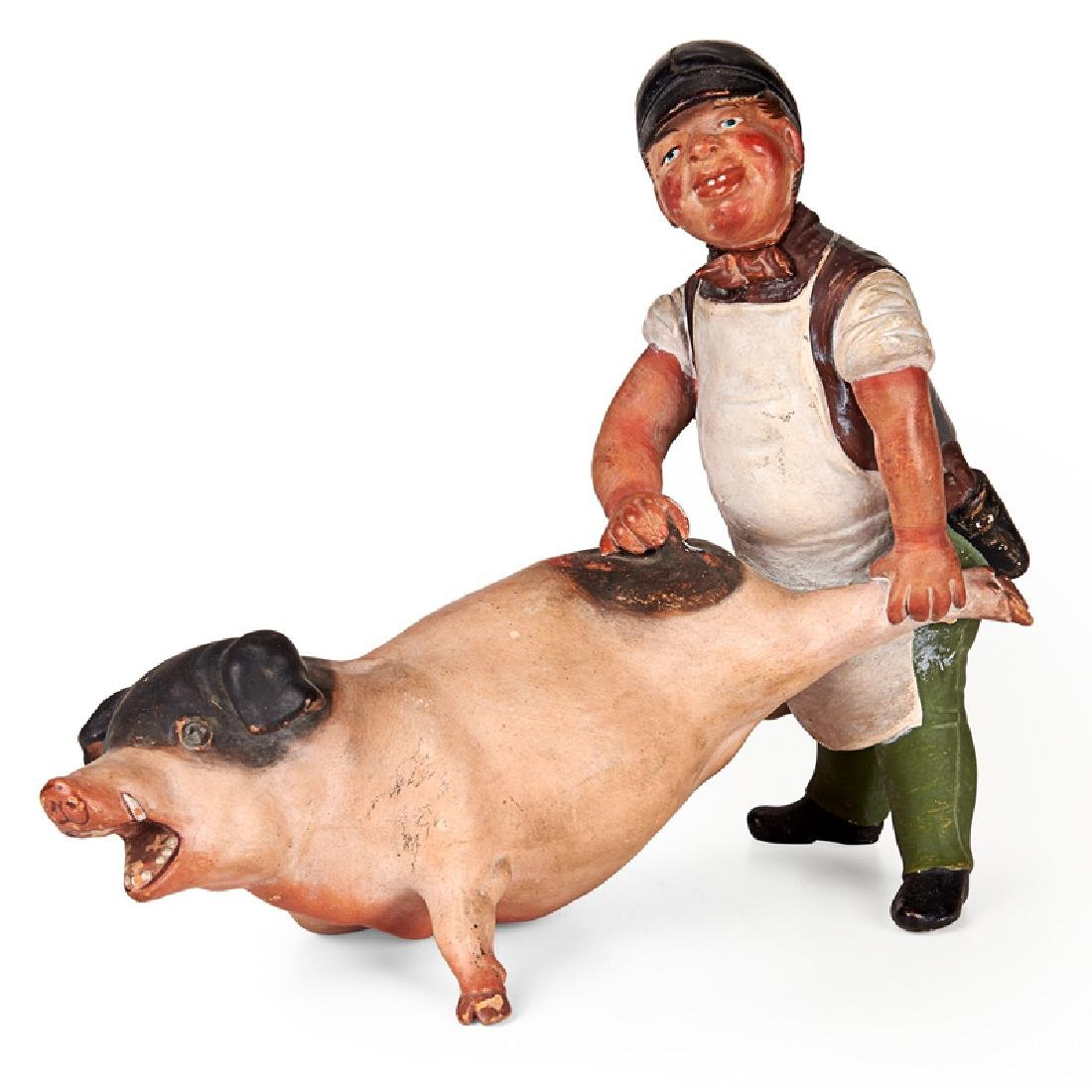 BUTCHER AND RELUCTANT PIG SCULPTURE