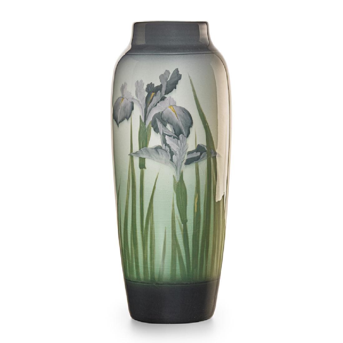 S. COYNE; ROOKWOOD Banded Iris Glaze vase