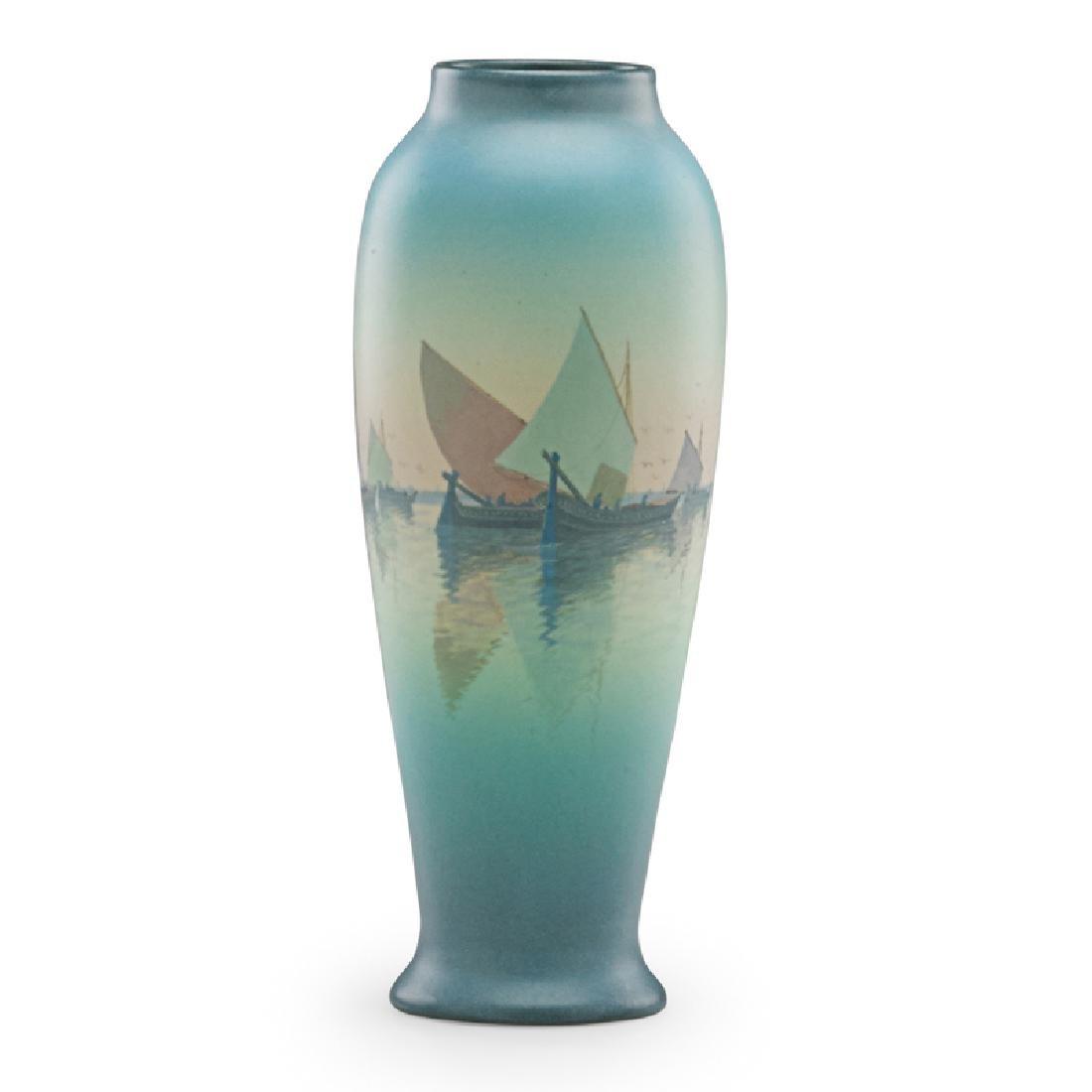C. SCHMIDT; ROOKWOOD Vellum vase