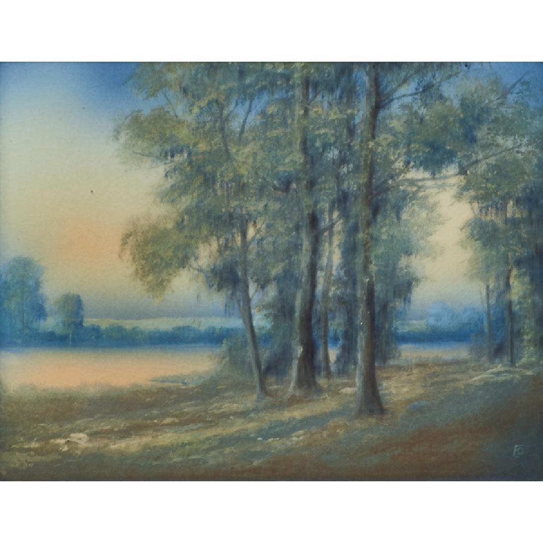 ED DIERS; ROOKWOOD Scenic Vellum plaque