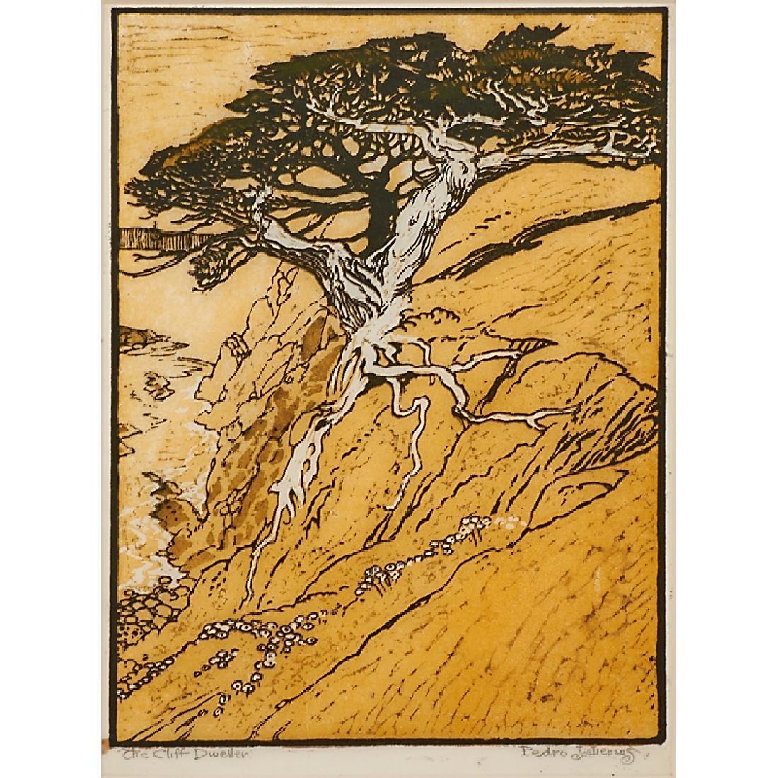 PEDRO DE LEMOS Color woodblock print