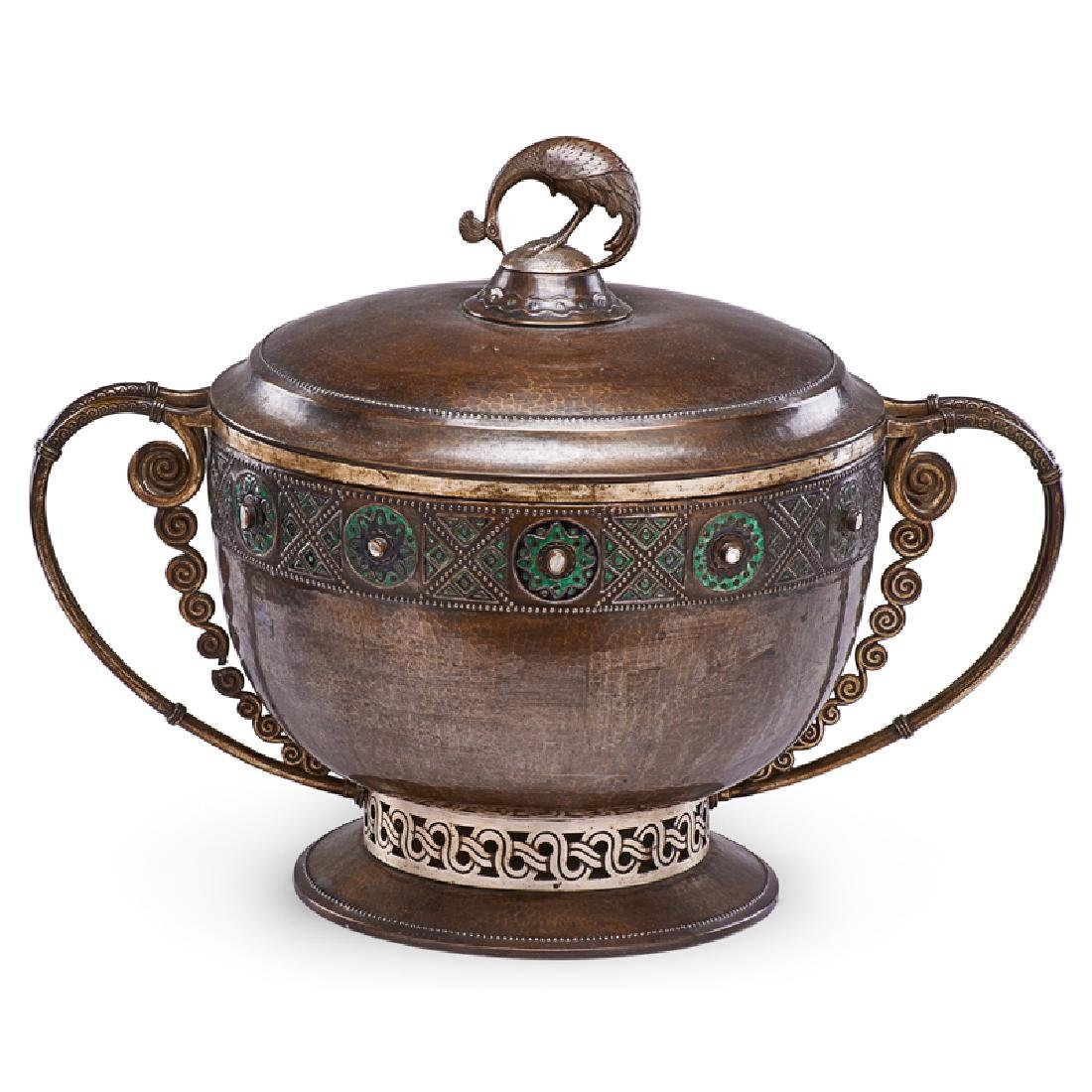 EUGEN EHRENBOCK Enameled copper vessel w/ peacock - 3