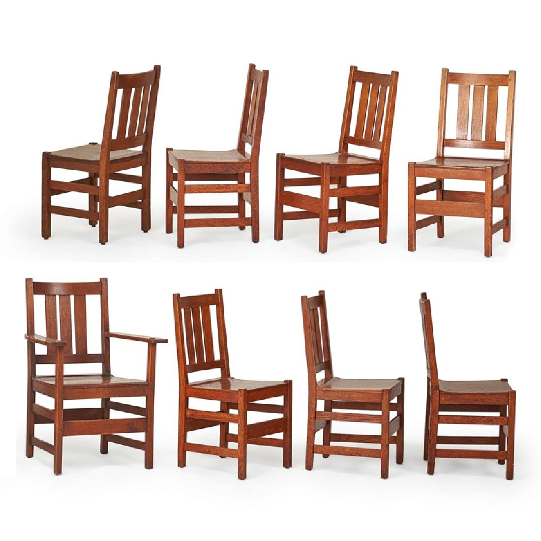 L. & J.G. STICKLEY Set of eight dining chairs