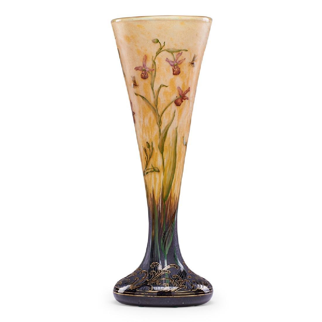 DAUM Fine large enameled vase
