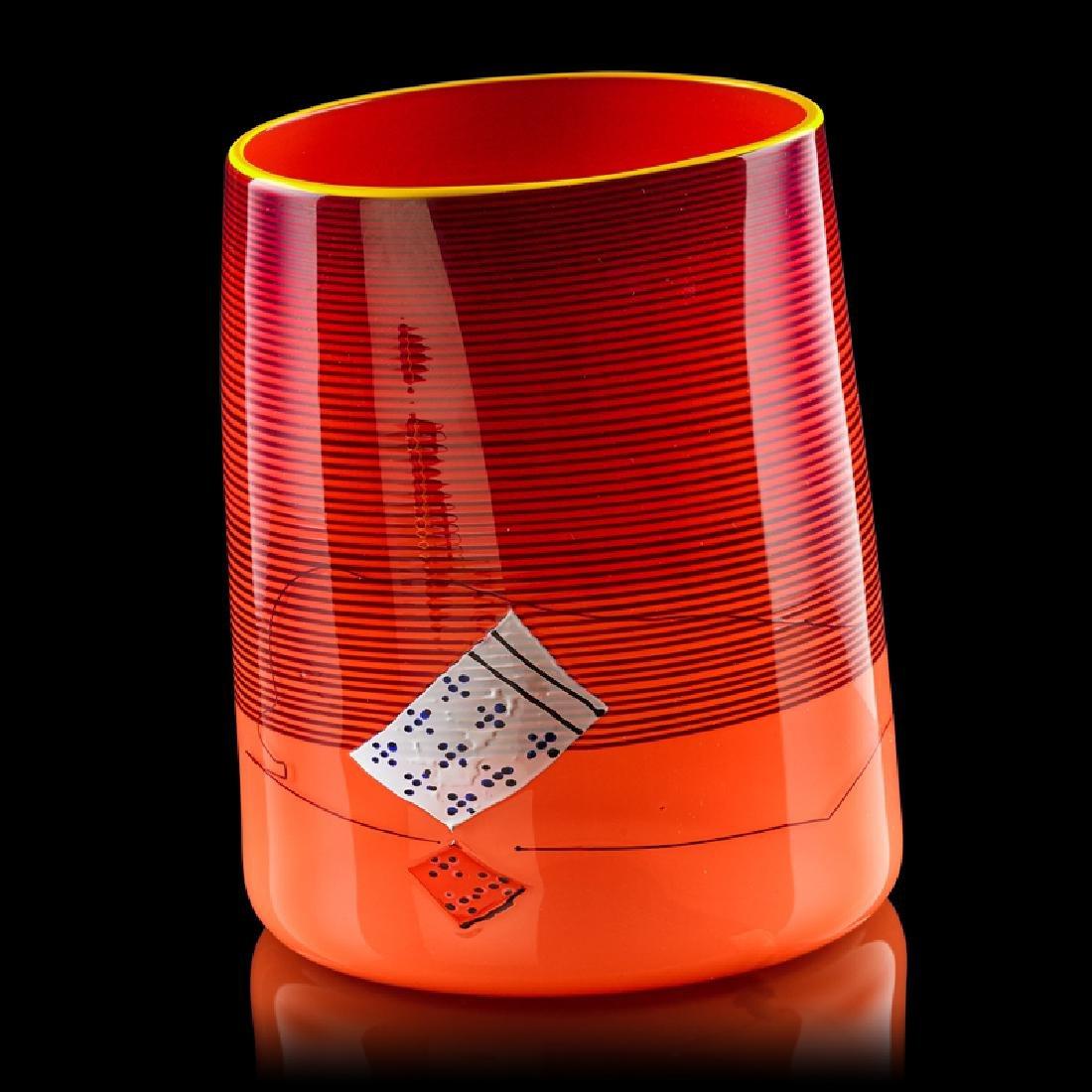 DALE CHIHULY  PORTLAND PRESS Red Blanket Cylinder