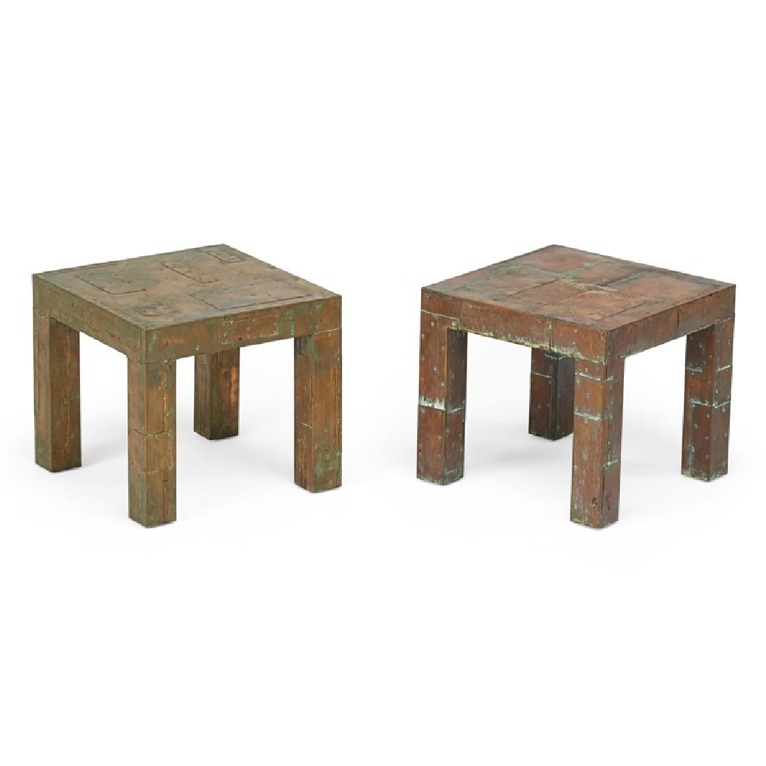 PAUL EVANS Pair of Patchwork side tables
