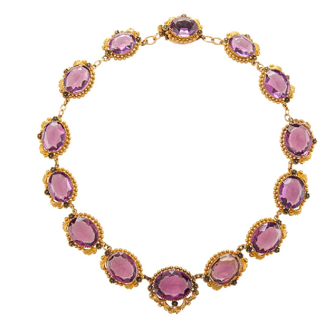"VICTORIAN ""AMETHYST"" & GILT METAL NECKLACE"