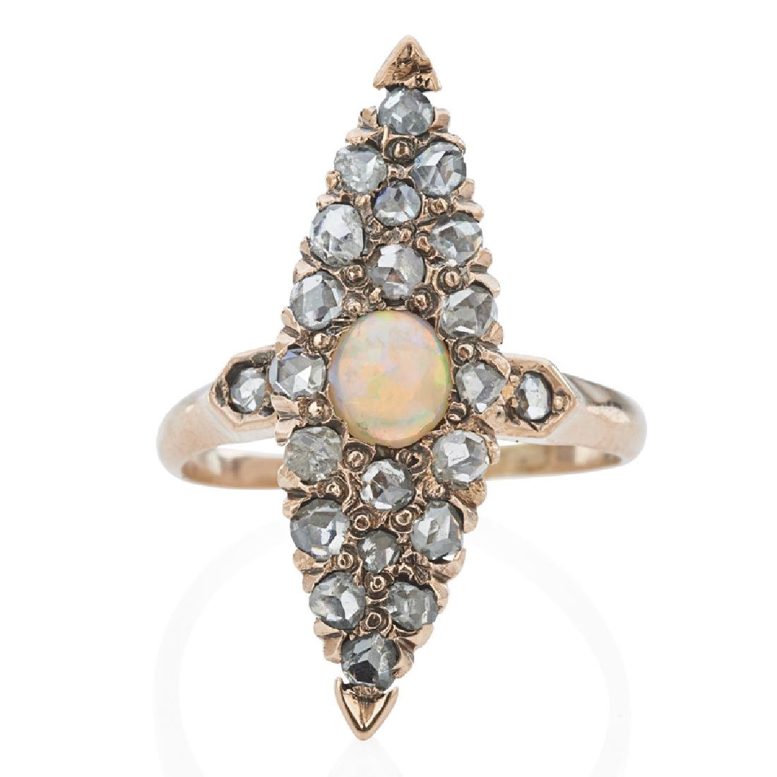 VICTORIAN OPAL & DIAMOND YELLOW GOLD NAVETTE RING