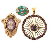 GROUP OF GEM-SET YELLOW GOLD JEWELRY