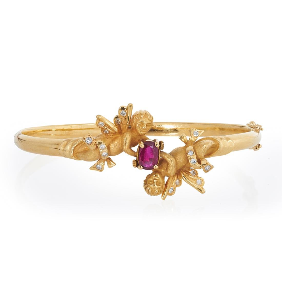 RUBY, DIAMOND & YELLOW GOLD CHERUB BANGLE BRACELET