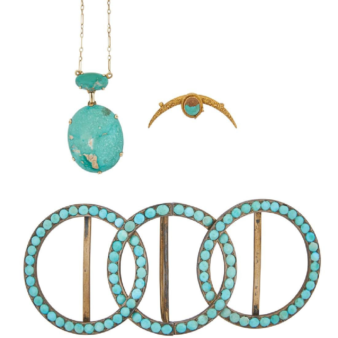 ARTS & CRAFTS TURQUOISE YELLOW GOLD OR SILVER JEWELRY