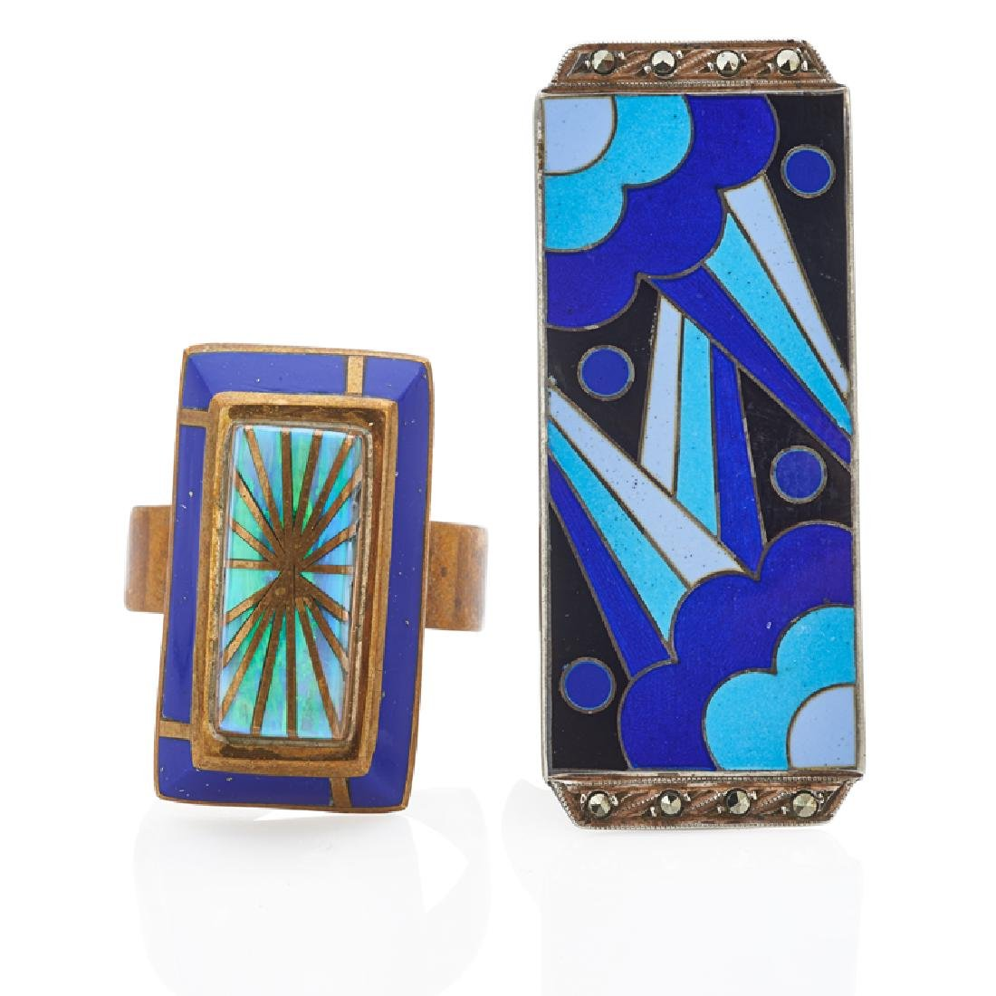 SECESSIONIST GEM SET ENAMELED JEWELRY
