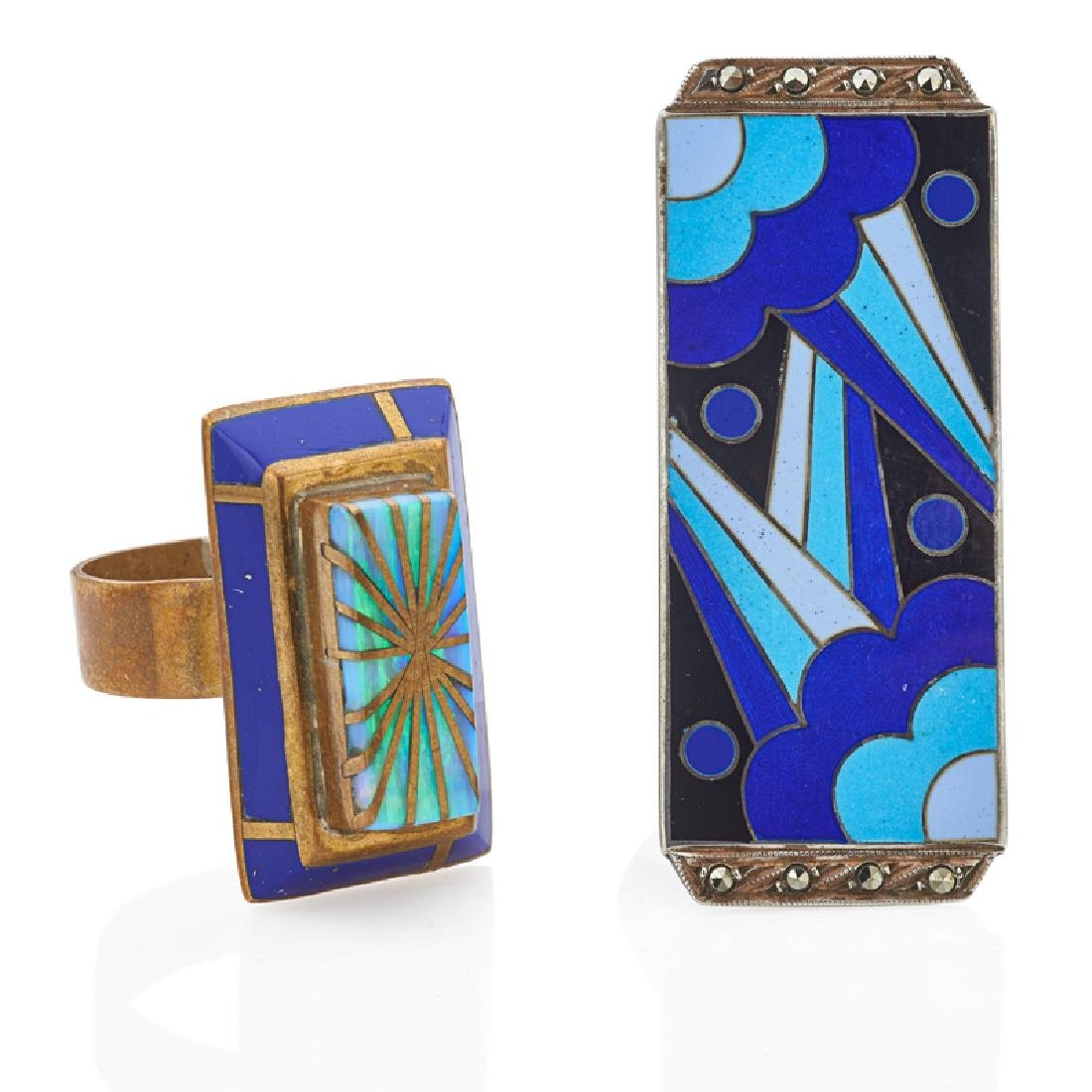 SECESSIONIST GEM SET ENAMELED JEWELRY - 2