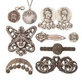 ELEVEN PIECES OF AMERICAN SILVER JEWELRY, CA. 1900
