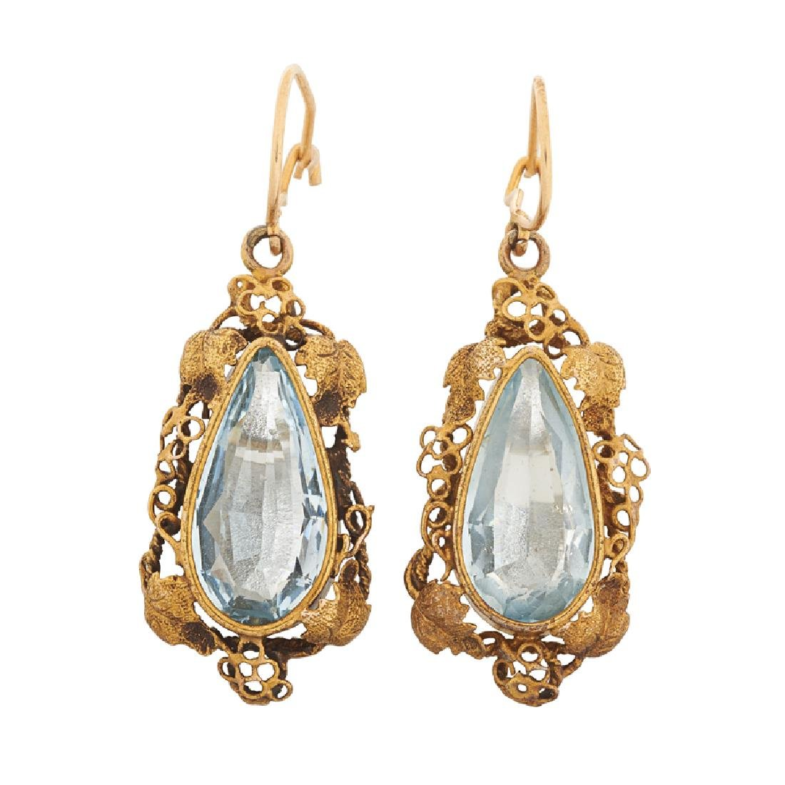 EARLY 20TH C. AQUAMARINE & YELLOW GOLD DROP EARRINGS