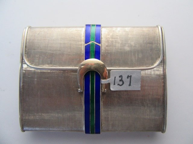 CARTIER ENAMELED STERLING COMPACT - 2