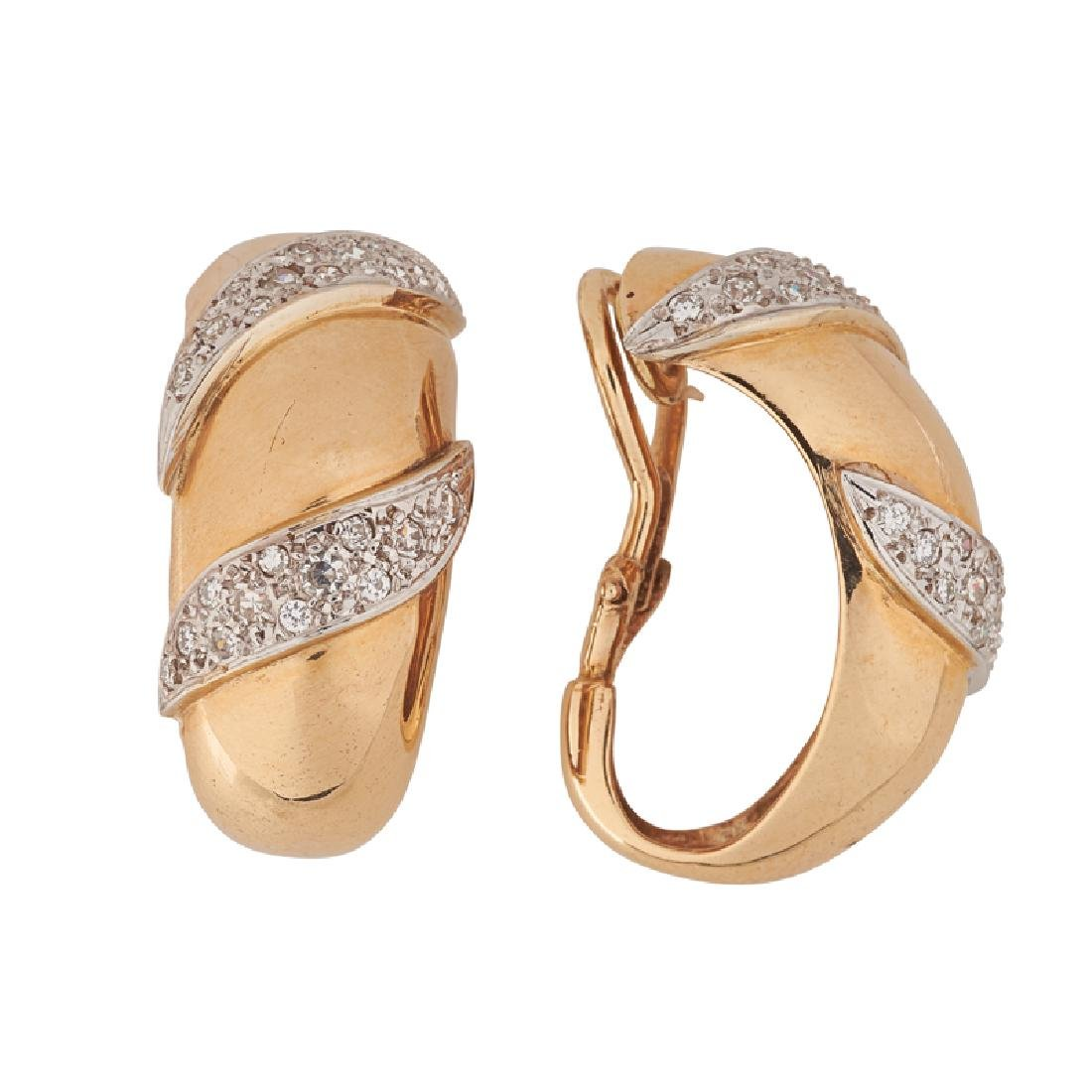 DIAMOND & YELLOW GOLD EAR CLIPS