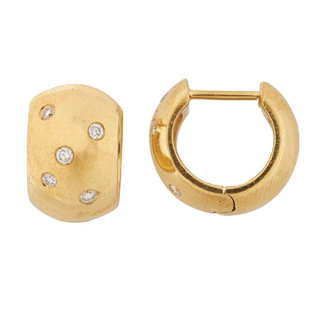 DIAMOND & YELLOW GOLD HUGGIE EARRINGS