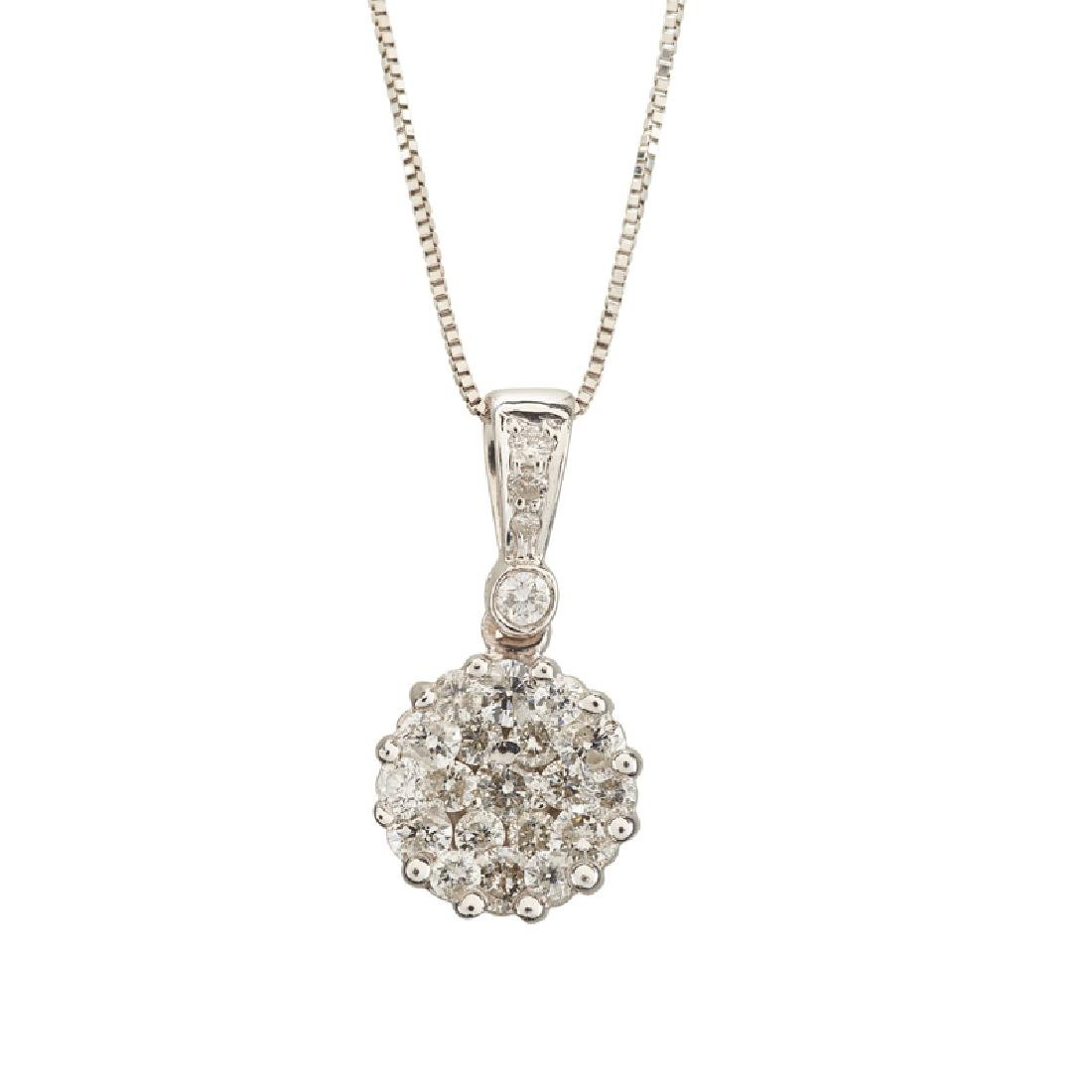 DIAMOND & WHITE GOLD PENDANT NECKLACE