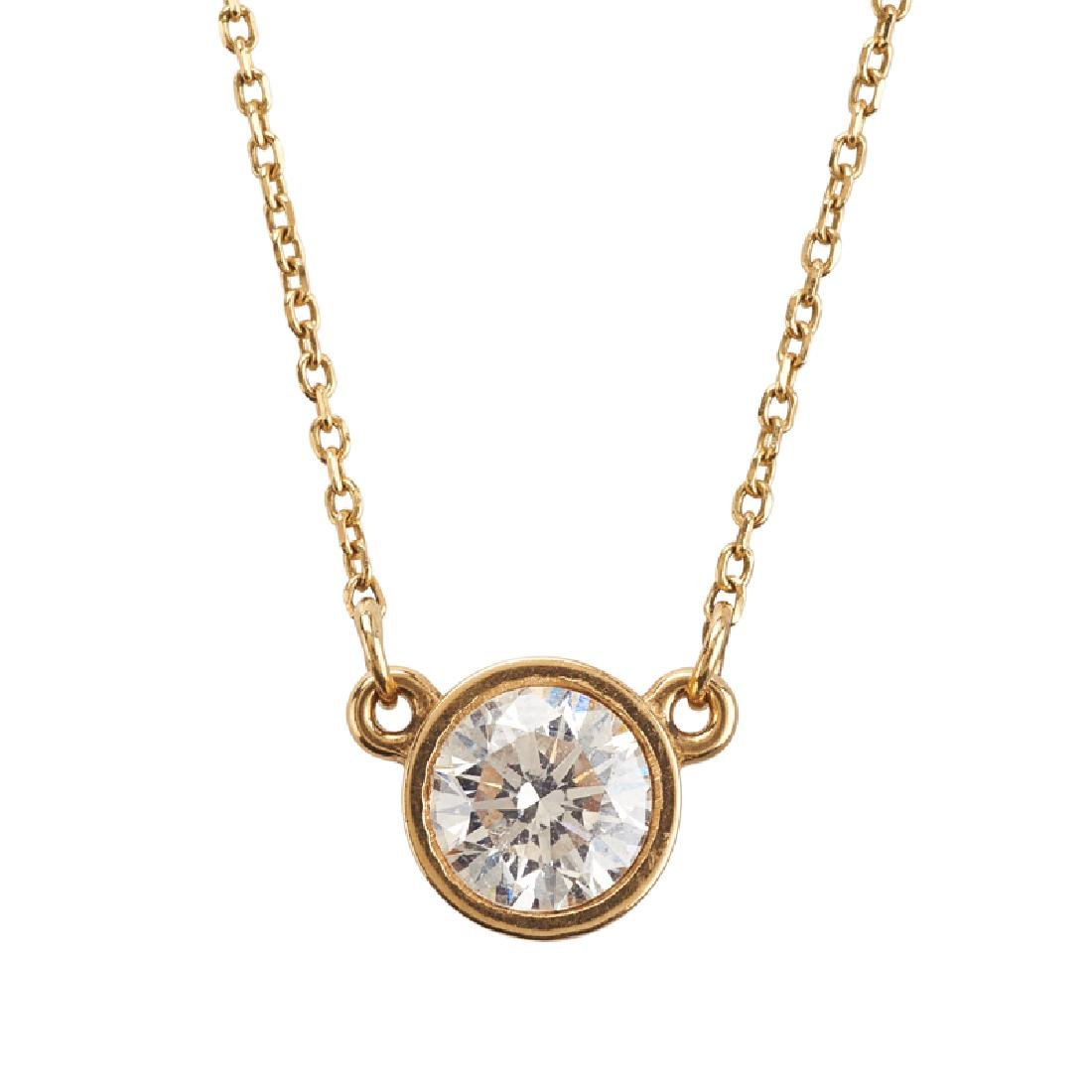 DIAMOND SOLITAIRE & YELLOW GOLD PENDANT NECKLACE