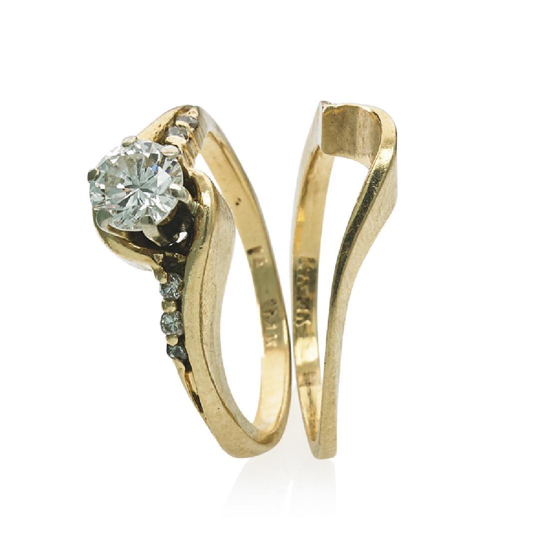 DIAMOND & YELLOW GOLD WEDDING RING SET - 2