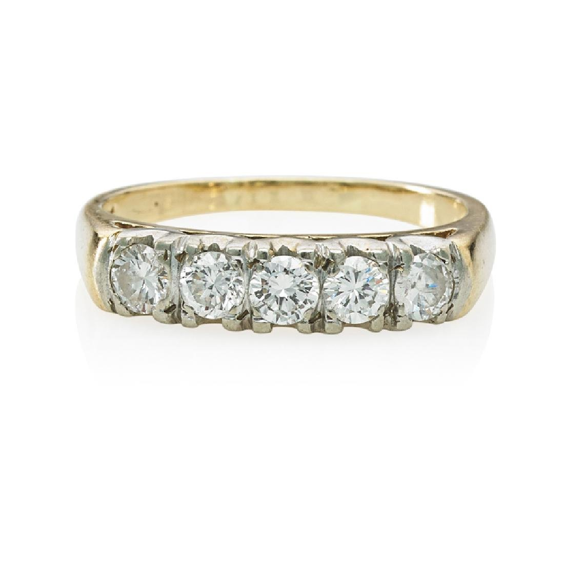 FIVE STONE DIAMOND & YELLOW GOLD RING