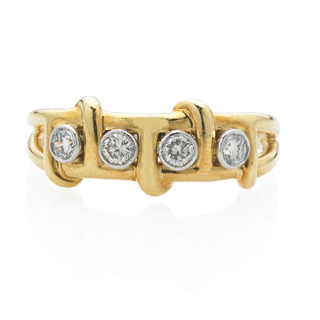 DIAMOND & YELLOW GOLD BAND RING