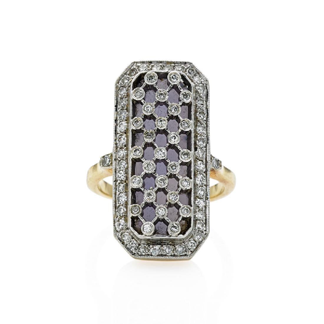 DIAMOND & HARDSTONE YELLOW GOLD LATTICE RING