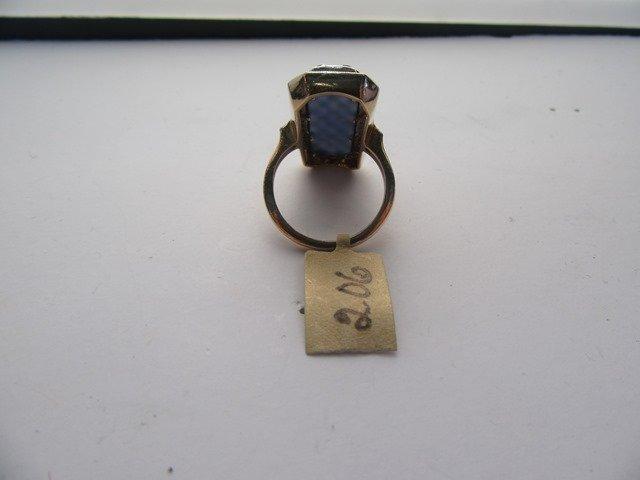 DIAMOND & HARDSTONE YELLOW GOLD LATTICE RING - 2