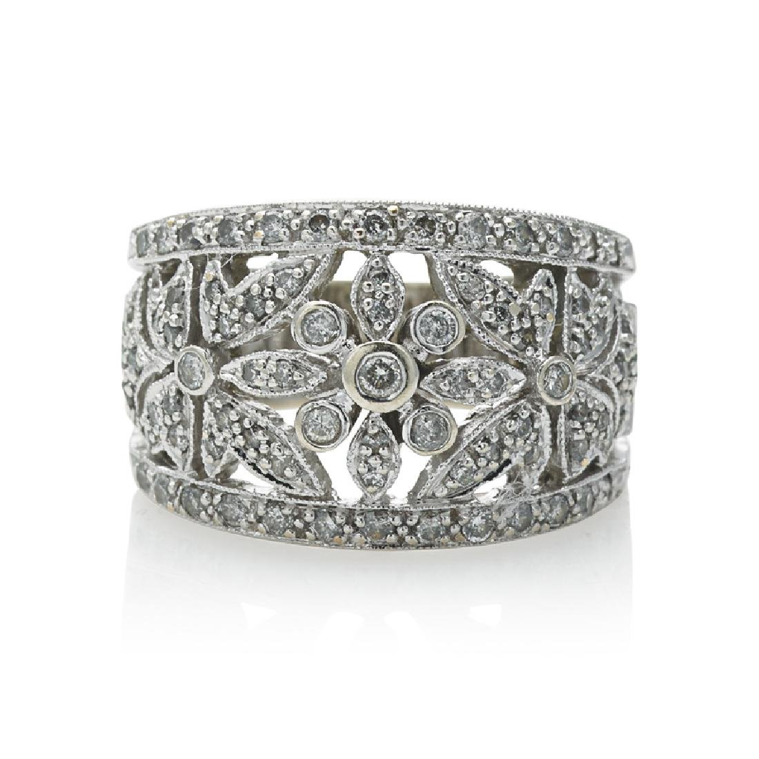 DIAMOND & WHITE GOLD FLORAL BAND RING