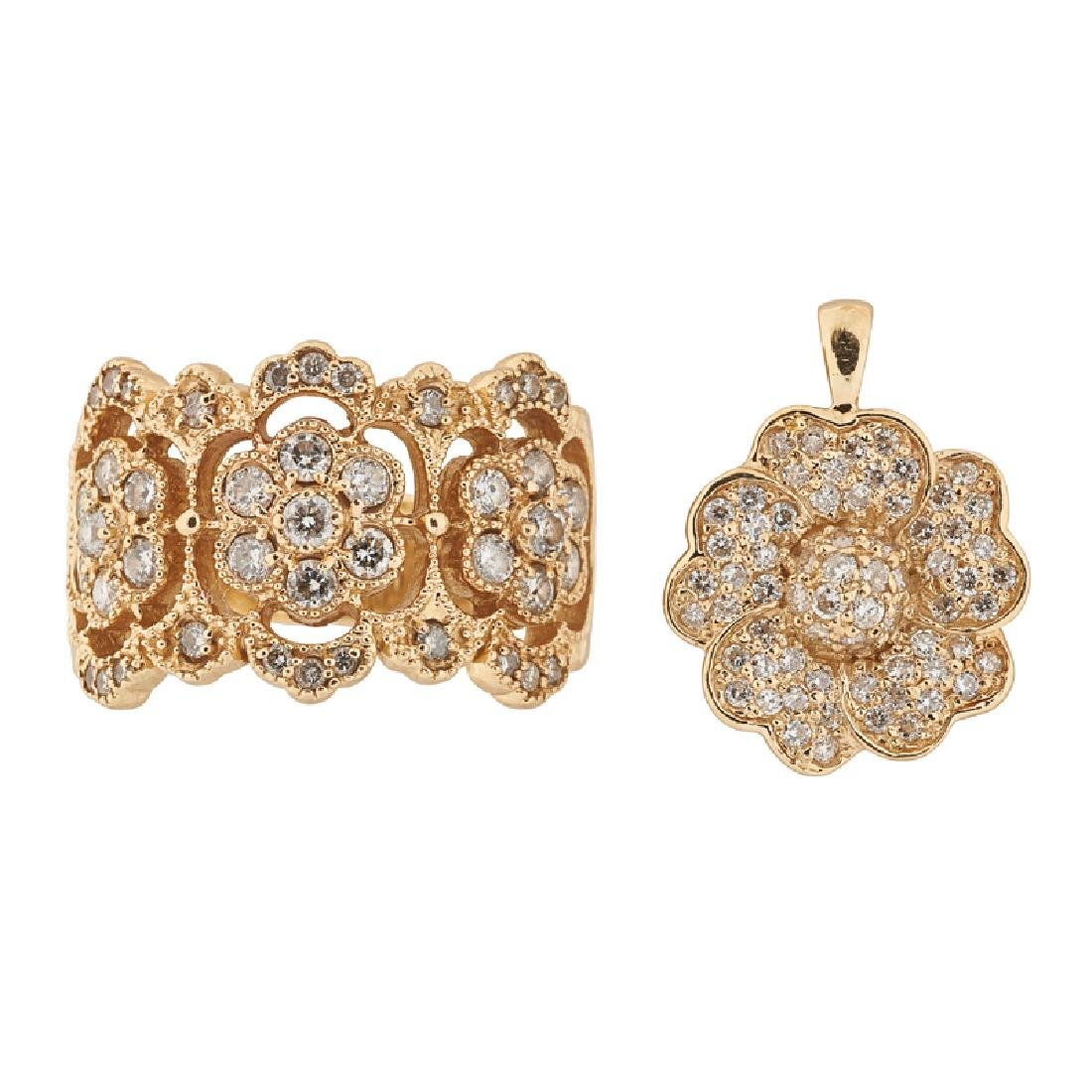 DIAMOND & YELLOW GOLD FLORAL RING & PENDANT SUITE