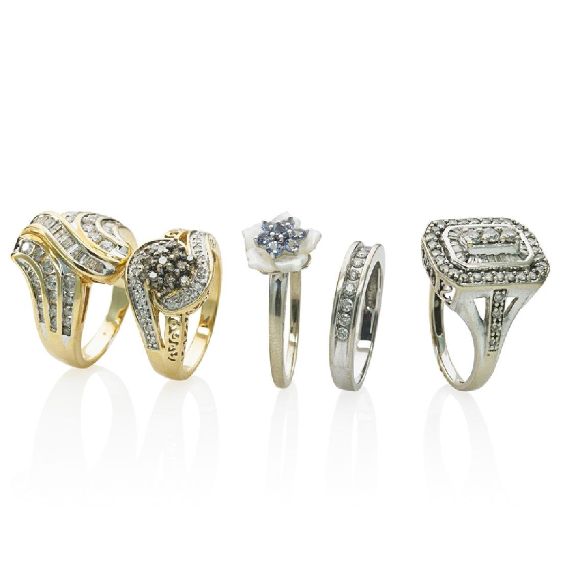 GROUP OF DIAMOND OR GEM-SET GOLD RINGS