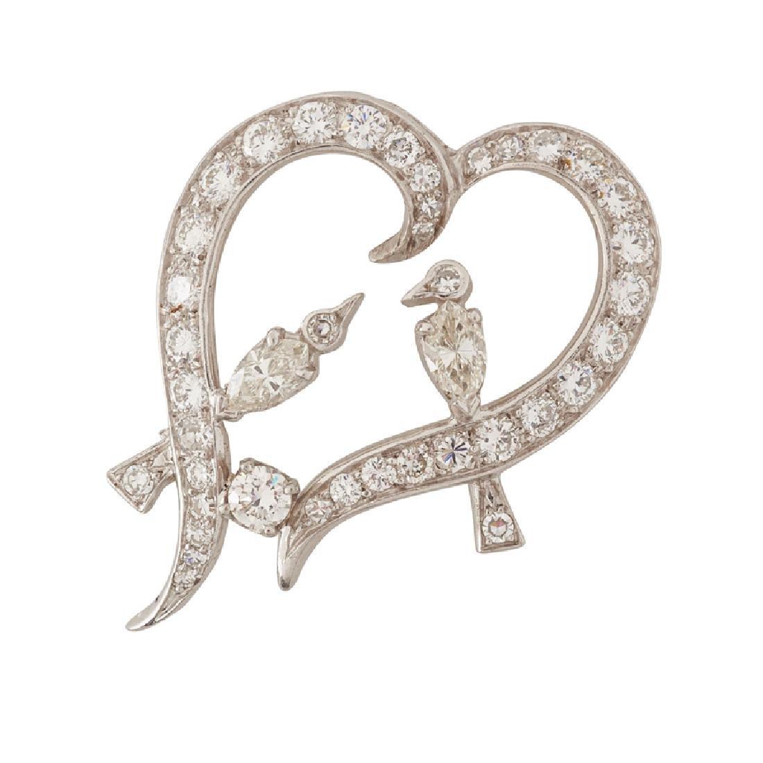 DIAMOND & PLATINUM LOVE BIRDS BROOCH