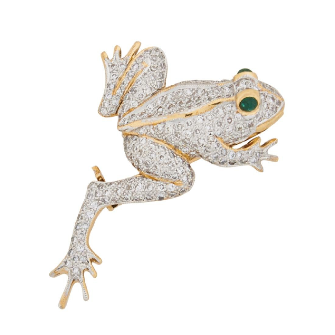 DIAMOND, EMERALD & YELLOW GOLD FROG BROOCH