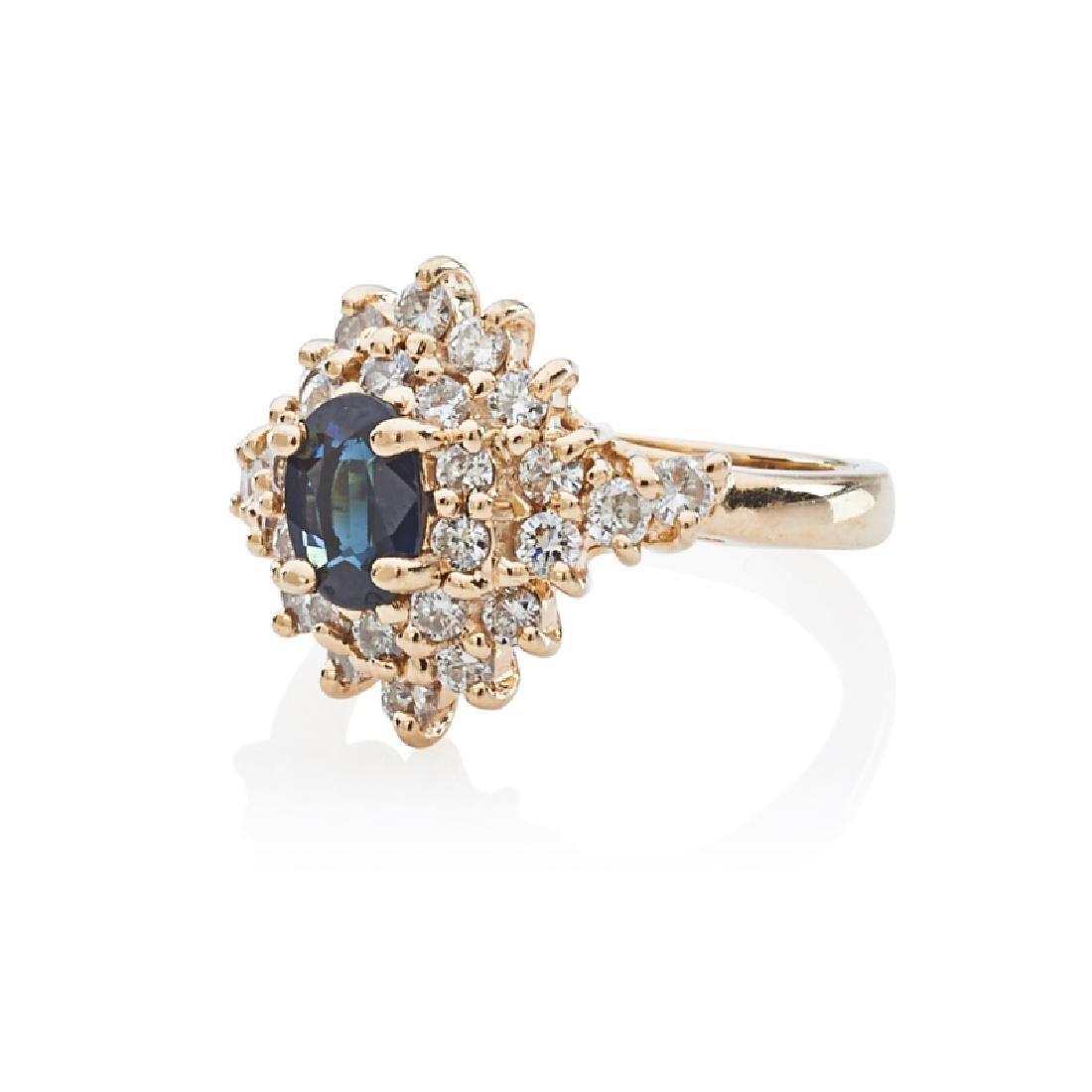 SAPPHIRE, DIAMOND & YELLOW GOLD RING