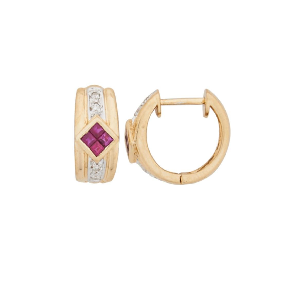 RUBY, DIAMOND & YELLOW GOLD HUGGIE EARRINGS