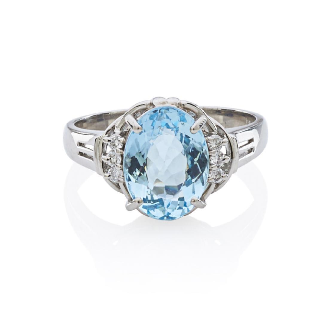 AQUAMARINE, DIAMOND & PLATINUM RING