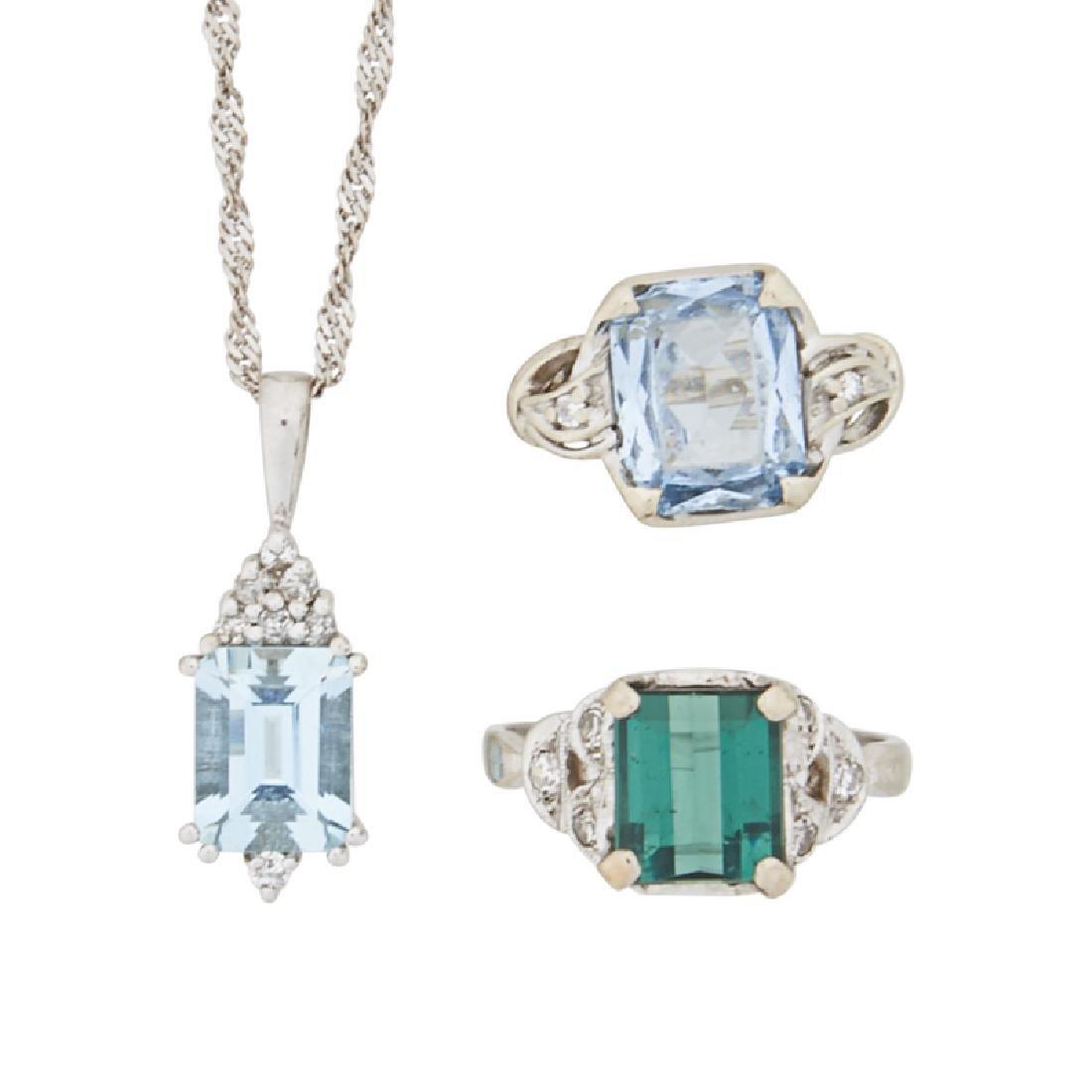 """AQUAMARINE OR """"ALEXANDRITE"""" DIAMOND, WHITE GOLD JEWELRY"""
