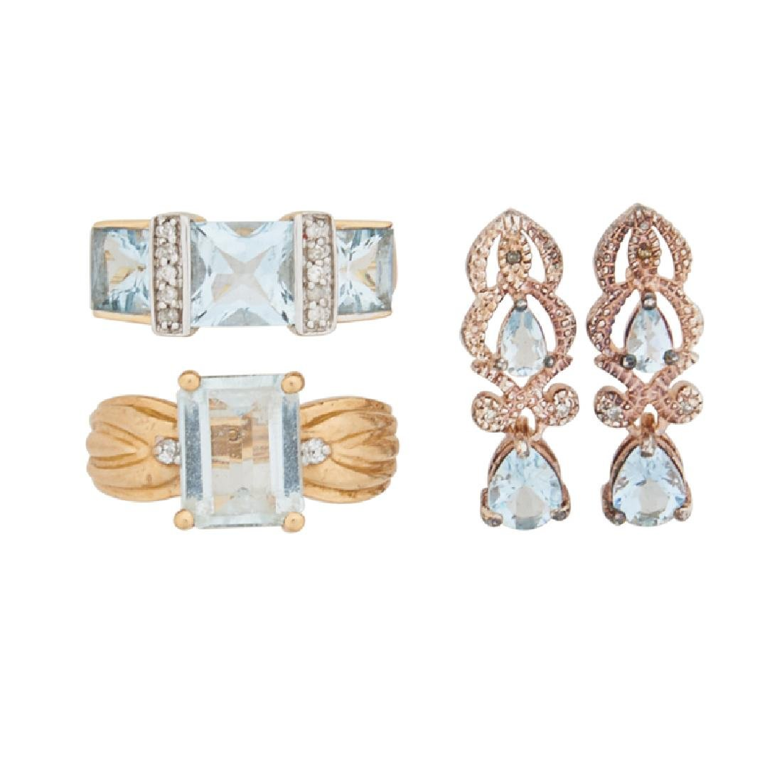 AQUAMARINE GOLD OR STERLING JEWELRY, INCL. DIAMONDS