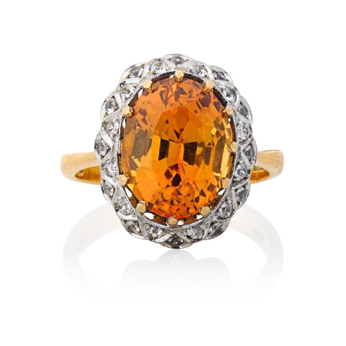 TOPAZ, DIAMOND & YELLOW GOLD RING