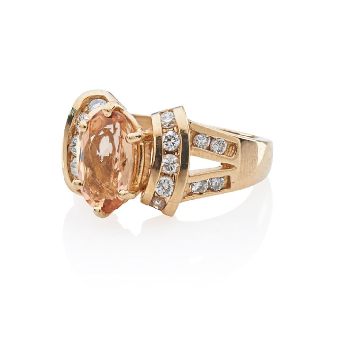 IMPERIAL TOPAZ, DIAMOND & YELLOW GOLD RING