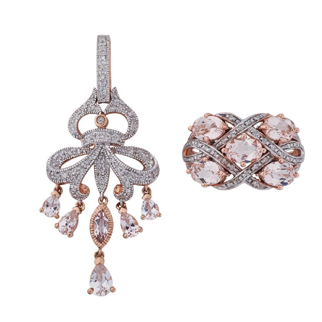 MORGANITE, DIAMOND & PINK GOLD RING & PENDANT