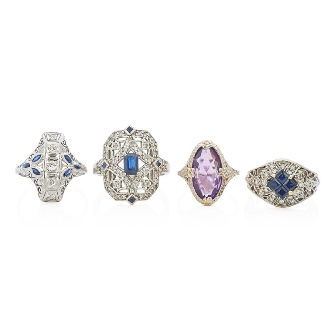 SAPPHIRE OR AMETHYST WHITE GOLD RINGS, INCL. DIAMONDS