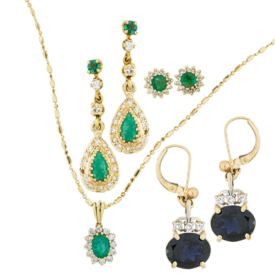 DIAMOND, EMERALD OR AMETHYST YELLOW GOLD JEWELRY