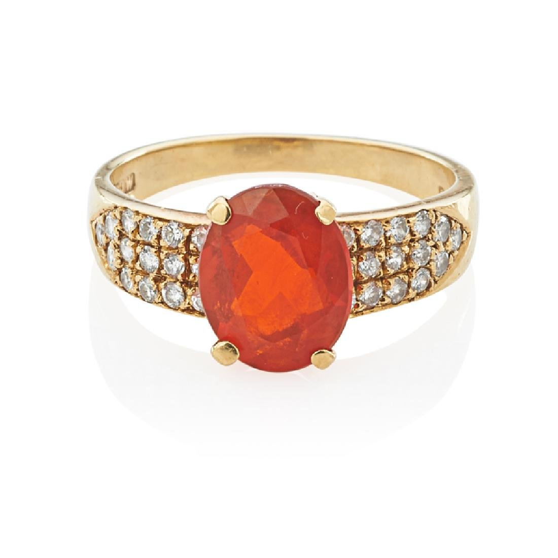 MEXICAN FIRE OPAL, DIAMOND & YELLOW GOLD RING