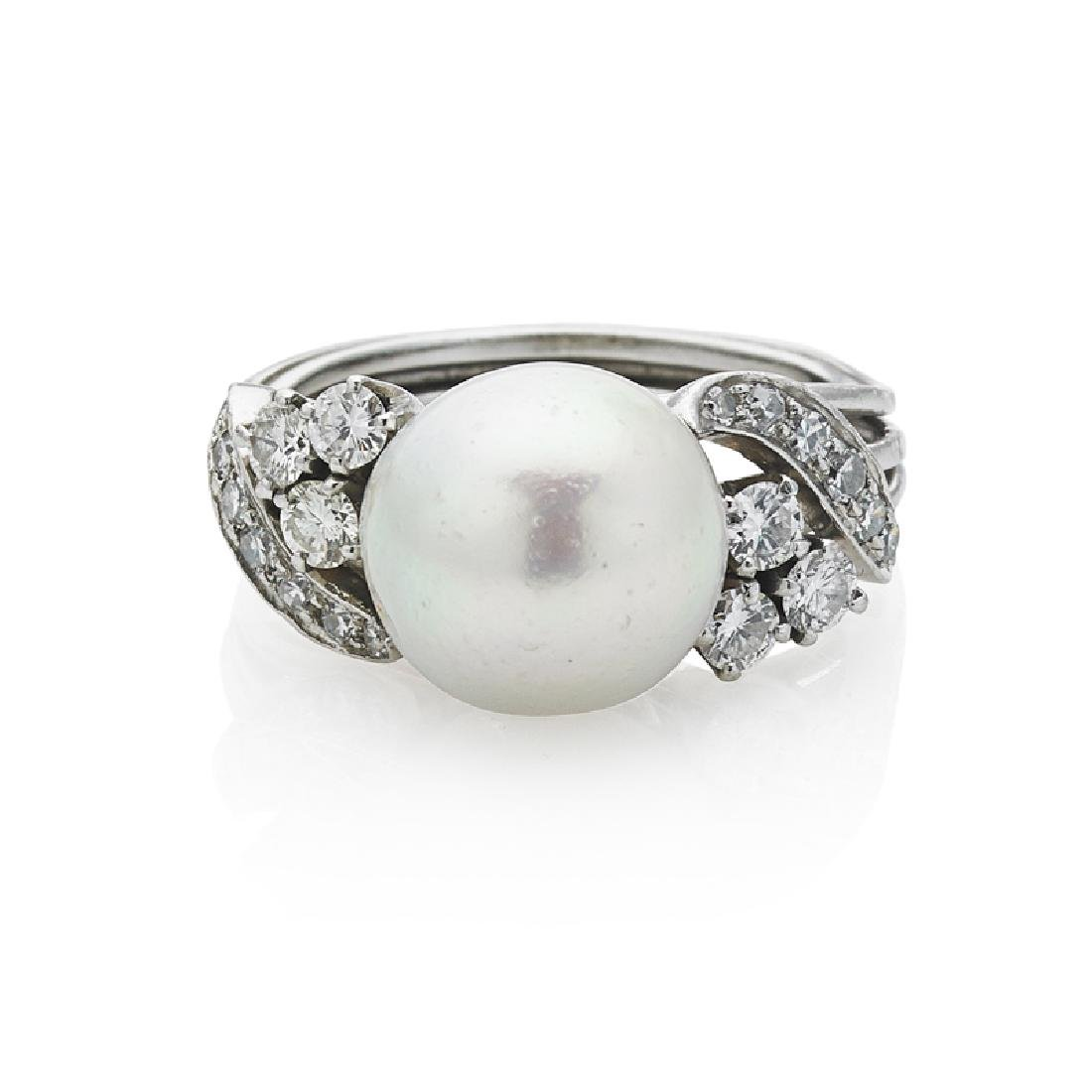 AKOYA PEARL, DIAMOND & PLATINUM RING
