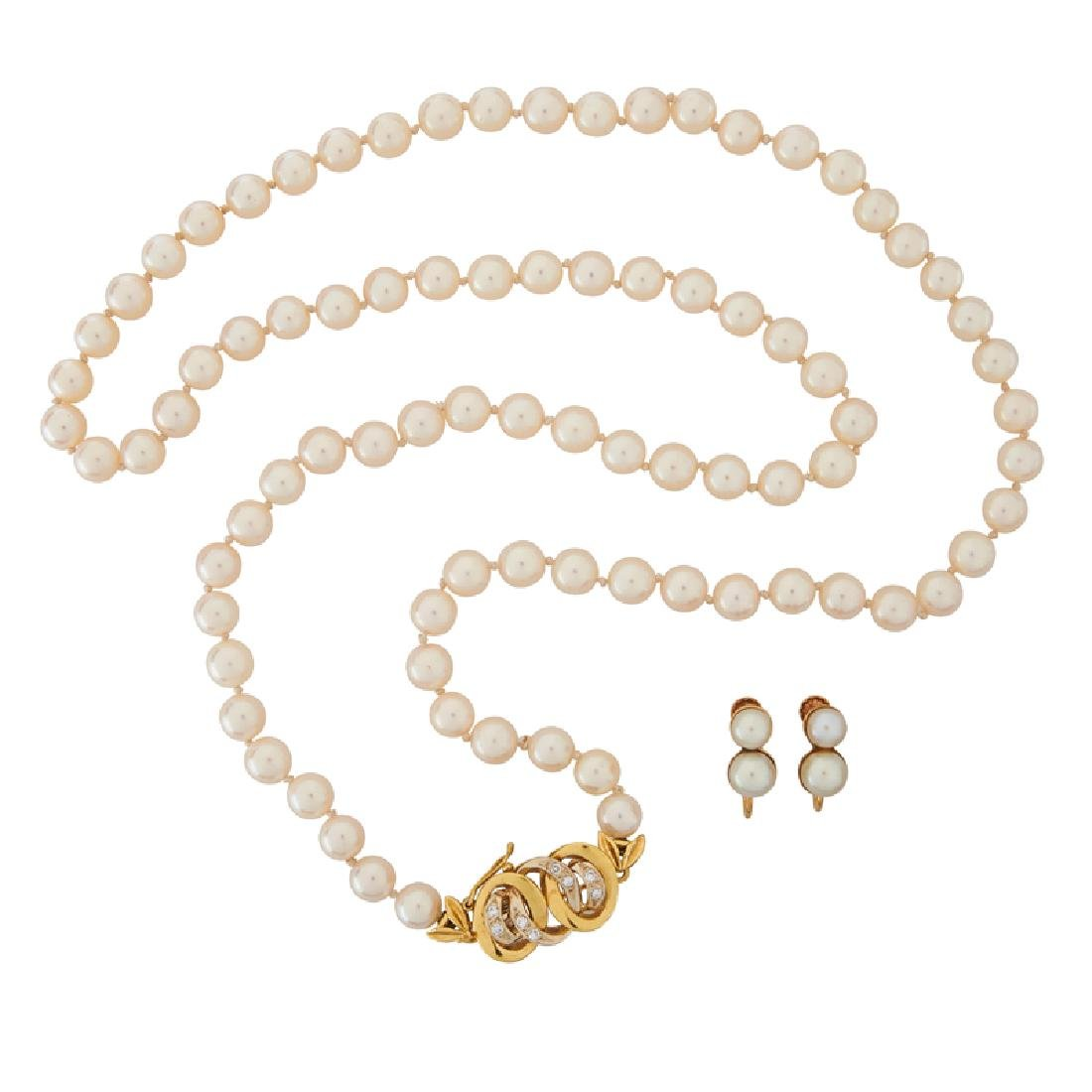AKOYA PEARL & GOLD NECKLACE & EARRINGS, INCL. DIAMONDS