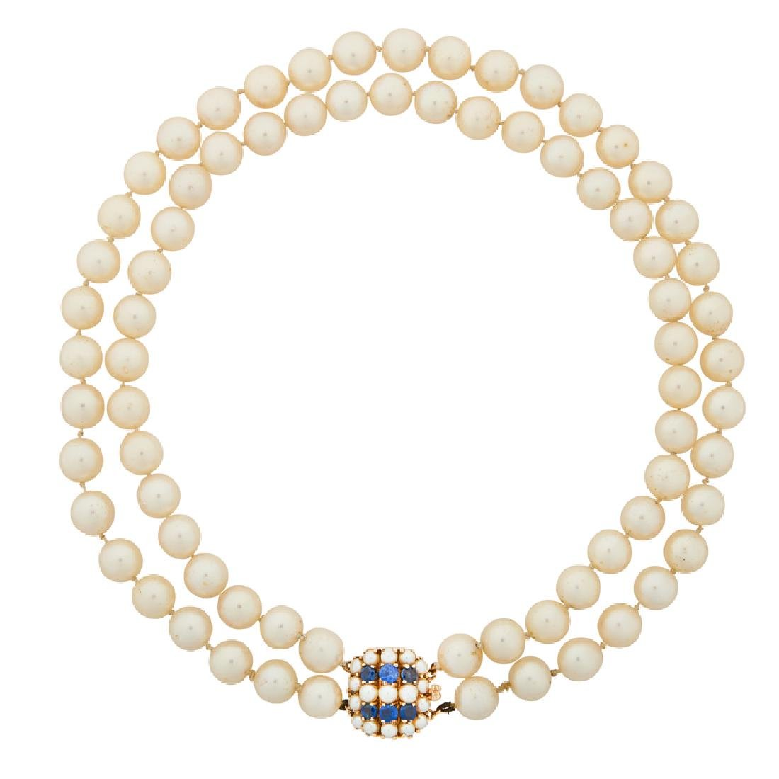 AKOYA PEARL, SAPPHIRE & YELLOW GOLD NECKLACE