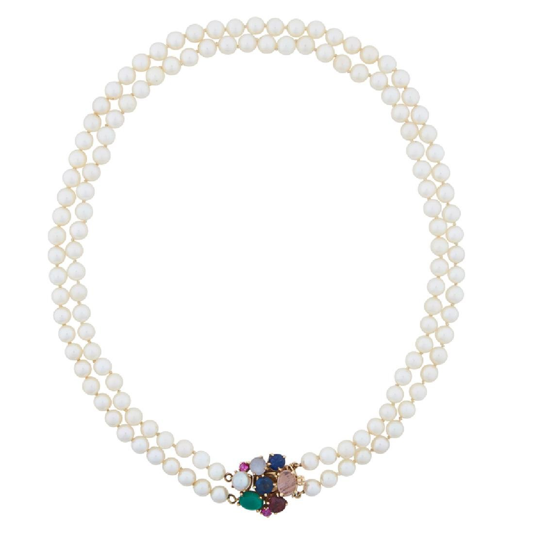 DOUBLE STRAND PEARL & GEM-SET NECKLACE